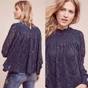 Anthropologie Deletta Blue Amanna Lace Swing Top